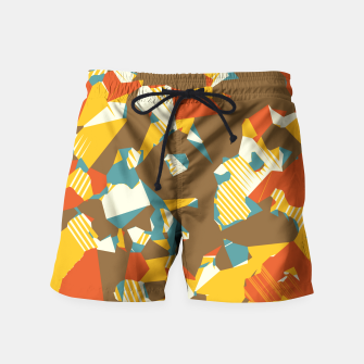 Thumbnail image of geometric graffiti drawing and painting abstract in brown yellow blue and orange Swim Shorts, Live Heroes