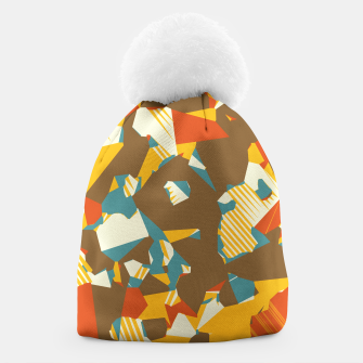 Thumbnail image of geometric graffiti drawing and painting abstract in brown yellow blue and orange Beanie, Live Heroes