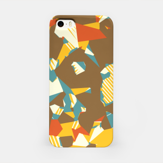 Thumbnail image of geometric graffiti drawing and painting abstract in brown yellow blue and orange iPhone Case, Live Heroes