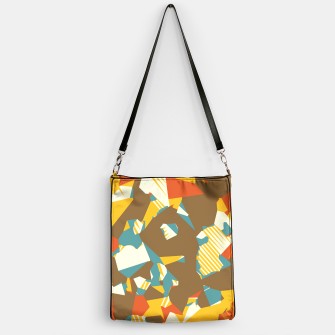 Thumbnail image of geometric graffiti drawing and painting abstract in brown yellow blue and orange Handbag, Live Heroes