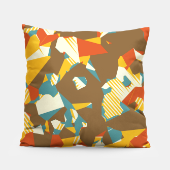 Thumbnail image of geometric graffiti drawing and painting abstract in brown yellow blue and orange Pillow, Live Heroes