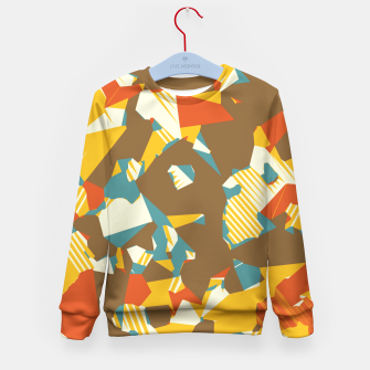 Thumbnail image of geometric graffiti drawing and painting abstract in brown yellow blue and orange Kid's Sweater, Live Heroes