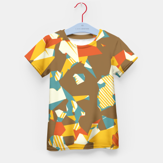 Thumbnail image of geometric graffiti drawing and painting abstract in brown yellow blue and orange Kid's T-shirt, Live Heroes