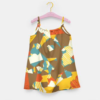 Thumbnail image of geometric graffiti drawing and painting abstract in brown yellow blue and orange Girl's Dress, Live Heroes