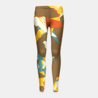 Thumbnail image of geometric graffiti drawing and painting abstract in brown yellow blue and orange Girl's Leggings, Live Heroes