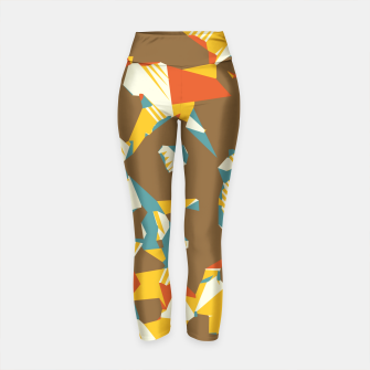 Thumbnail image of geometric graffiti drawing and painting abstract in brown yellow blue and orange Yoga Pants, Live Heroes