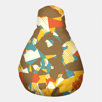 Thumbnail image of geometric graffiti drawing and painting abstract in brown yellow blue and orange Pouf, Live Heroes
