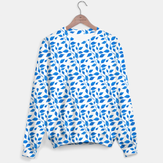Thumbnail image of blue leaf pattern over white Sweater, Live Heroes