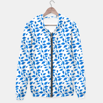 Thumbnail image of blue leaf pattern over white Hoodie, Live Heroes
