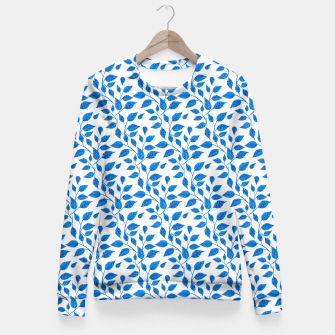 Thumbnail image of blue leaf pattern over white Fitted Waist Sweater, Live Heroes