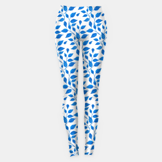 Thumbnail image of blue leaf pattern over white Leggings, Live Heroes