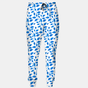 Thumbnail image of blue leaf pattern over white Sweatpants, Live Heroes