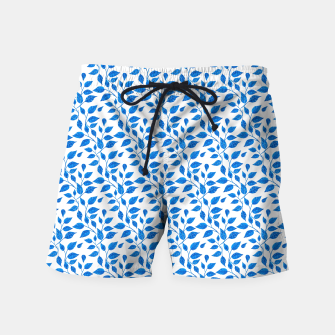 Thumbnail image of blue leaf pattern over white Swim Shorts, Live Heroes