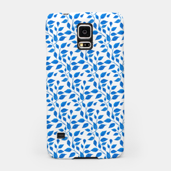 Thumbnail image of blue leaf pattern over white Samsung Case, Live Heroes