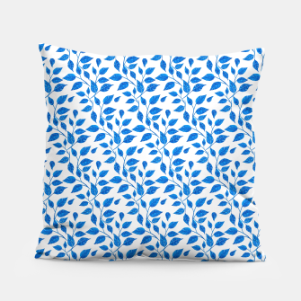 Thumbnail image of blue leaf pattern over white Pillow, Live Heroes