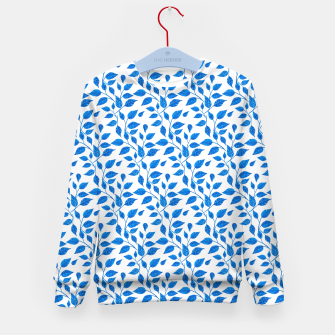 Thumbnail image of blue leaf pattern over white Kid's Sweater, Live Heroes