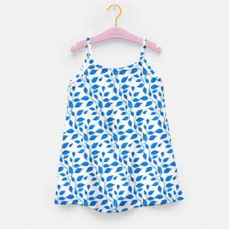 Thumbnail image of blue leaf pattern over white Girl's Dress, Live Heroes