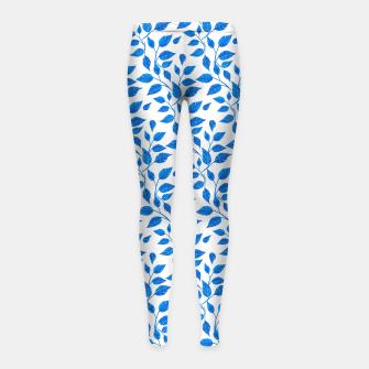 Thumbnail image of blue leaf pattern over white Girl's Leggings, Live Heroes