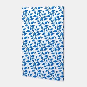 Thumbnail image of blue leaf pattern over white Canvas, Live Heroes