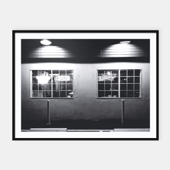 Miniatur windows of the bar and restaurant in Los Angeles, USA in black and white Framed poster, Live Heroes