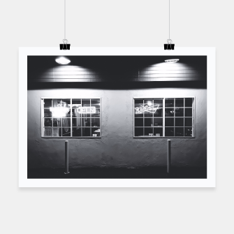 Thumbnail image of windows of the bar and restaurant in Los Angeles, USA in black and white Poster, Live Heroes