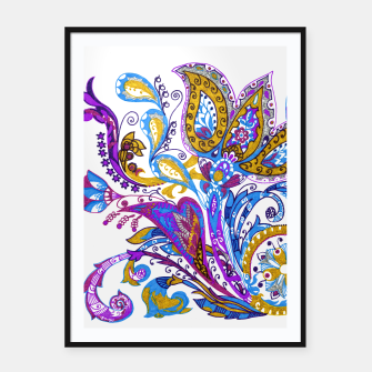 Thumbnail image of Paisley flower hand drawing illustration Framed poster, Live Heroes