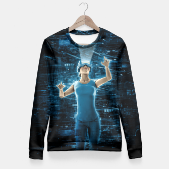 Thumbnail image of Virtual Reality User Woman Fitted Waist Sweater, Live Heroes