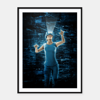 Thumbnail image of Virtual Reality User Woman Framed poster, Live Heroes