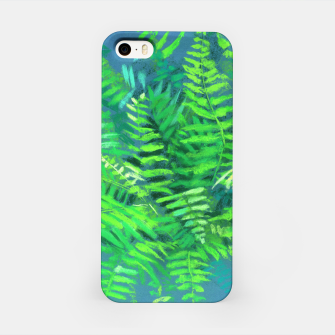 Thumbnail image of Fern, floral art, blue & green, summer greenery iPhone Case, Live Heroes