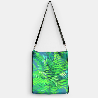 Thumbnail image of Fern, floral art, blue & green, summer greenery Handbag, Live Heroes