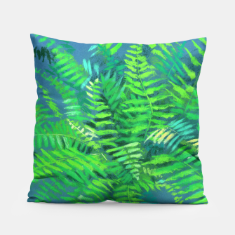 Thumbnail image of Fern, floral art, blue & green, summer greenery Pillow, Live Heroes