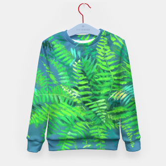 Thumbnail image of Fern, floral art, blue & green, summer greenery Kid's Sweater, Live Heroes