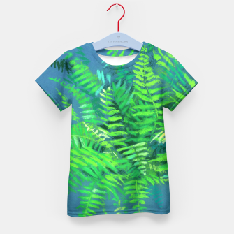 Thumbnail image of Fern, floral art, blue & green, summer greenery Kid's T-shirt, Live Heroes