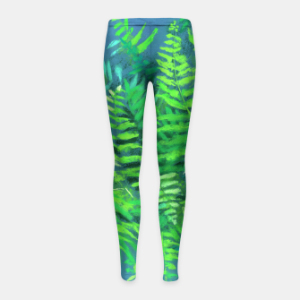 Thumbnail image of Fern, floral art, blue & green, summer greenery Girl's Leggings, Live Heroes