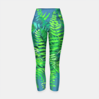 Thumbnail image of Fern, floral art, blue & green, summer greenery Yoga Pants, Live Heroes