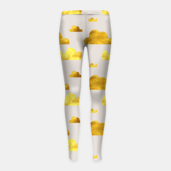 Thumbnail image of Gold clouds grey Girl's Leggings, Live Heroes