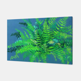 Thumbnail image of Fern, floral art, blue & green, summer greenery Canvas, Live Heroes