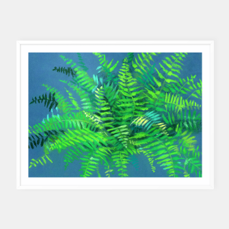 Thumbnail image of Fern, floral art, blue & green, summer greenery Framed poster, Live Heroes