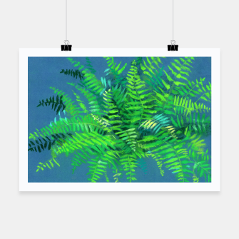 Thumbnail image of Fern, floral art, blue & green, summer greenery Poster, Live Heroes