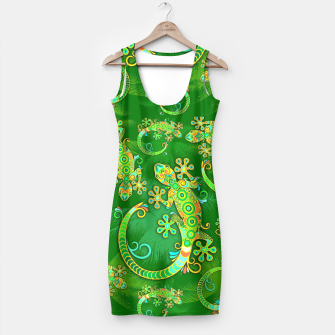 Gecko Lizard Colorful Tattoo Style Simple Dress thumbnail image