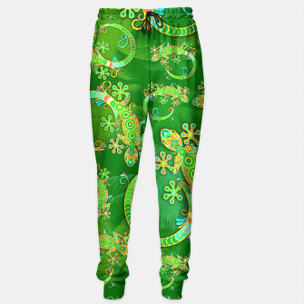 Thumbnail image of Gecko Lizard Colorful Tattoo Style Sweatpants, Live Heroes
