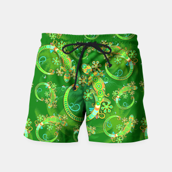 Gecko Lizard Colorful Tattoo Style Swim Shorts thumbnail image