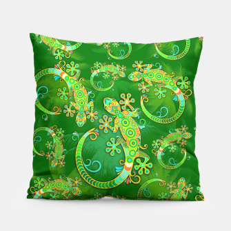 Gecko Lizard Colorful Tattoo Style Pillow thumbnail image