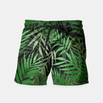 Thumbnail image of TROPICAL GREEN LEAVES Black b Swim Shorts, Live Heroes