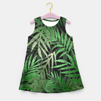 Thumbnail image of TROPICAL GREEN LEAVES Black b Girl's Summer Dress, Live Heroes
