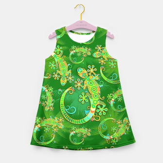 Gecko Lizard Colorful Tattoo Style Girl's Summer Dress thumbnail image