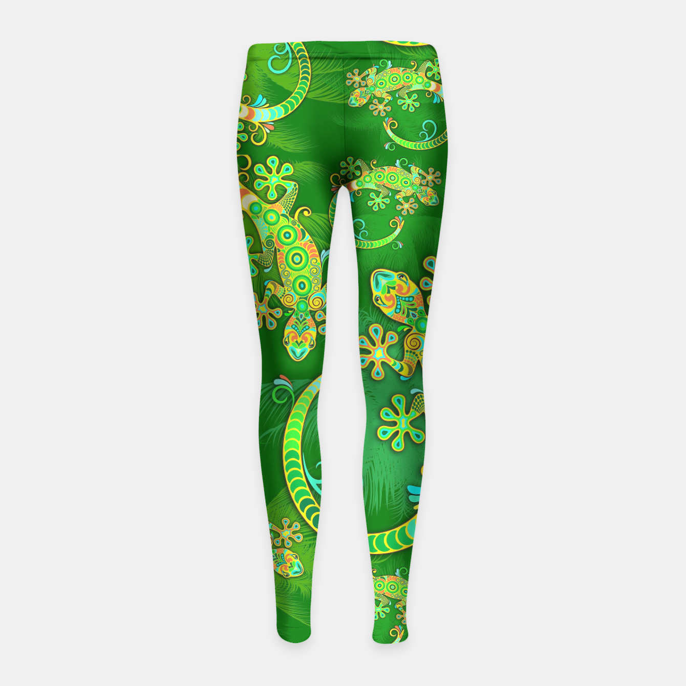 Image of Gecko Lizard Colorful Tattoo Style Girl's Leggings - Live Heroes