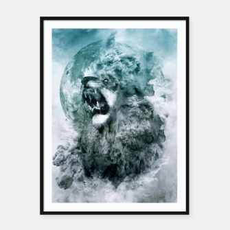 Thumbnail image of Lion Blue Framed poster, Live Heroes