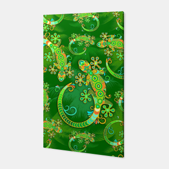 Gecko Lizard Colorful Tattoo Style Canvas thumbnail image