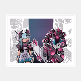 Thumbnail image of cyborg hime Framed poster, Live Heroes